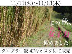 農業インターンシップで生産した米を使ったタンブラーランチを販売